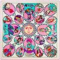 The New H Big Wind 130cm*130cm Indian Portrait Lady Silk Twill Shawl Scarf