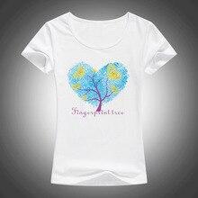 Summer Fashion pretty Fingerprints Printed Women's T Shirt New Style Beautiful Short Sleeve Tees Women Finger print Tops F43