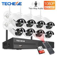 Techege 8CH 1080P Wireless Camera System Two Way Audio 2MP Waterproof Outdoor WIFI Video Surveillance Kit 4/8 Metal Camera Kit