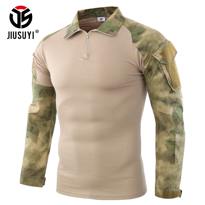 Intelligent Camouflage Army T-shirt Men Us Ru Soldiers Combat Tactical T Shirt Military Force Multicam Camo Long Sleeve T Shirts+knee Pads Available In Various Designs And Specifications For Your Selection Orologi E Gioielli