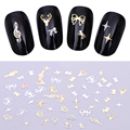 50Pcs Ultra-thin 3D Nail Decoration Star Heart Music Cat Flower Bowknot Ring Manicure Nail Art Decoration