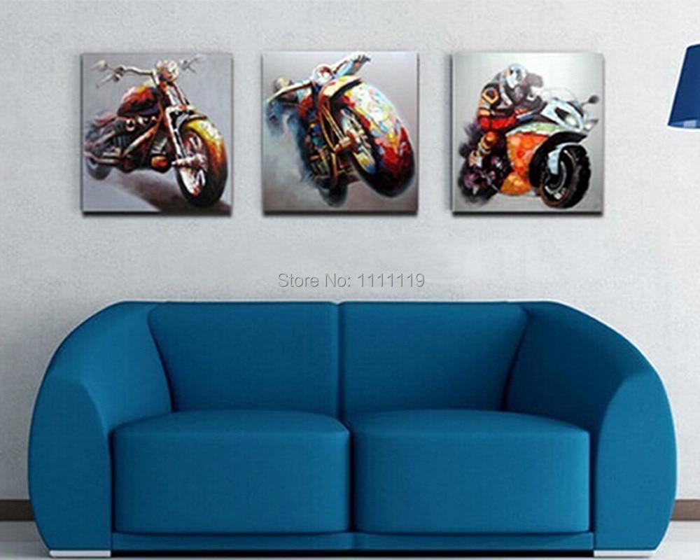 Motocicleta carrera cuadros pintado a mano arte de la pared cuchillo ...