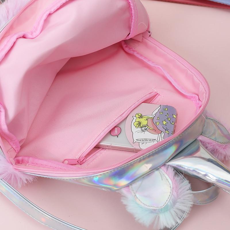 67ce93c844b New Hologram Women Leather Backpacks Unicorn Cute Backpacks For Girls Mini  Travel backpack Female Rucksack Plush Schoolbag