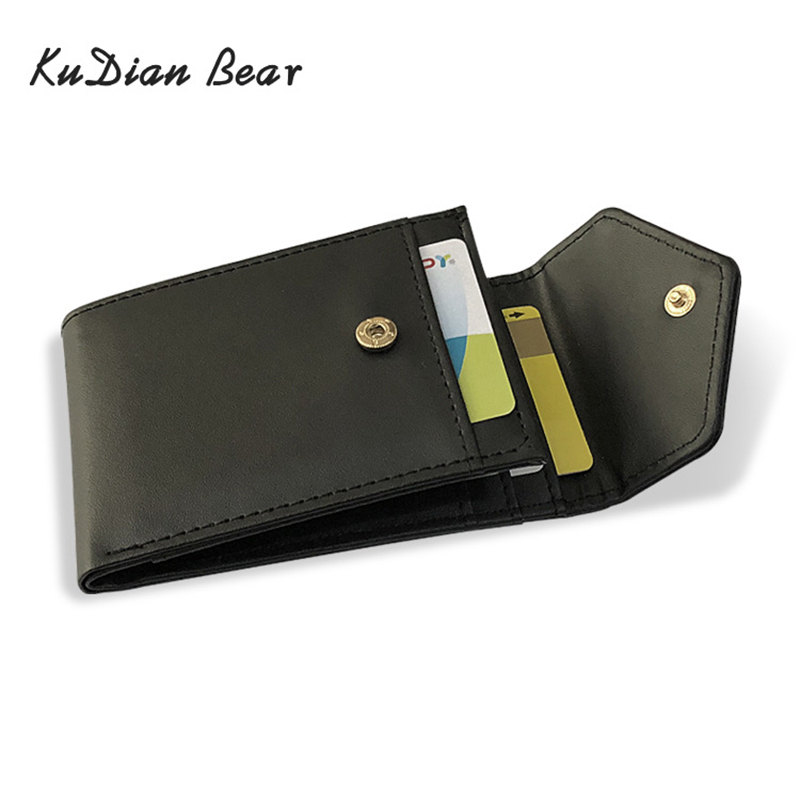 KUDIAN BEAR PU Leather Men Money Clip Wallet Solid Male Purses Designer Clips Slim Cash Holder Card Cases BID248 PM49