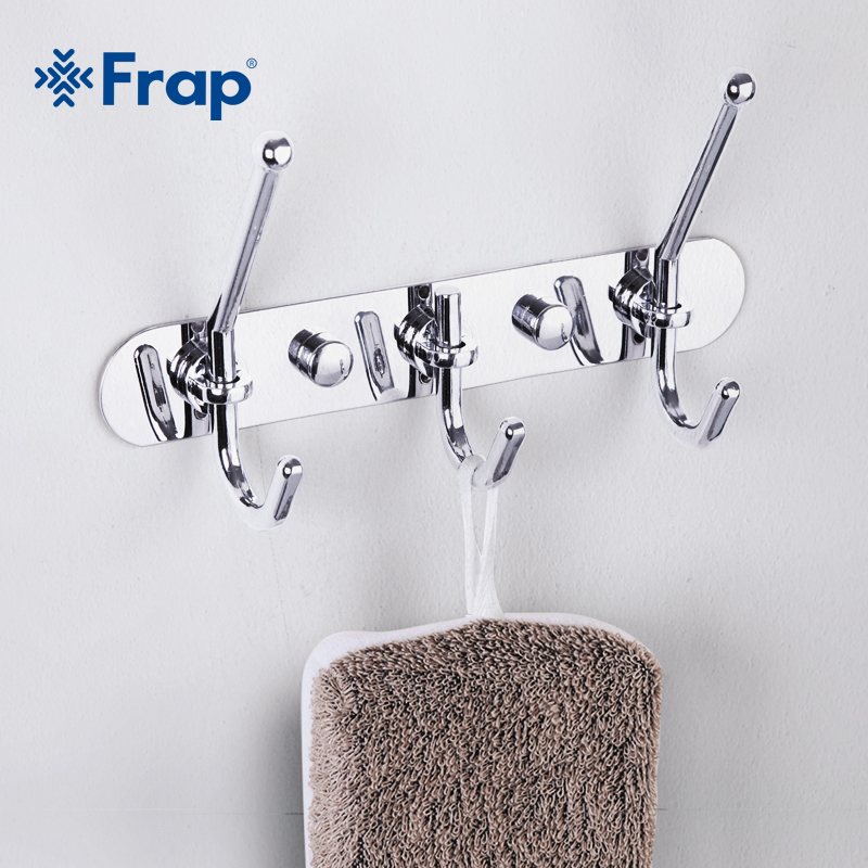 Frap Zinc alloy Chrome-plated Clothes Hook Fixed Bathroom Towel Hanger F201-3