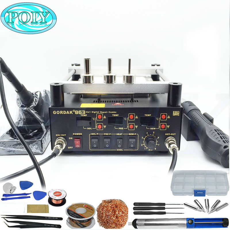 Gordak 863 3in1 Digita Hot Air Heat Gun BGA Rework Solder Station Electric Soldering iron IR Infrared Preheating Station