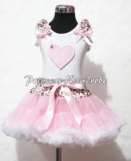 Valentine White Pettitop Pink Ruffles Heart Leopard Waist Pink White Pettiskirt Set 1-8Y MAPSA0259 white pettiskirt with patriotic america heart white ruffles