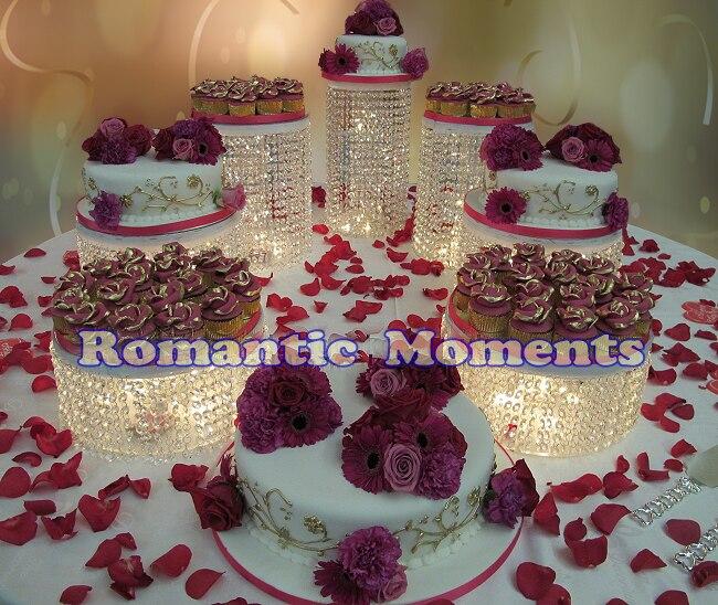 7 pièces Dia (25 cm) Gâteau Titulaires-Mariage Support De Gâteau En Cristal de Mariage Pièce Maîtresse-Affichage de Gâteau de Fête De Décoration De Mariage Accessoires