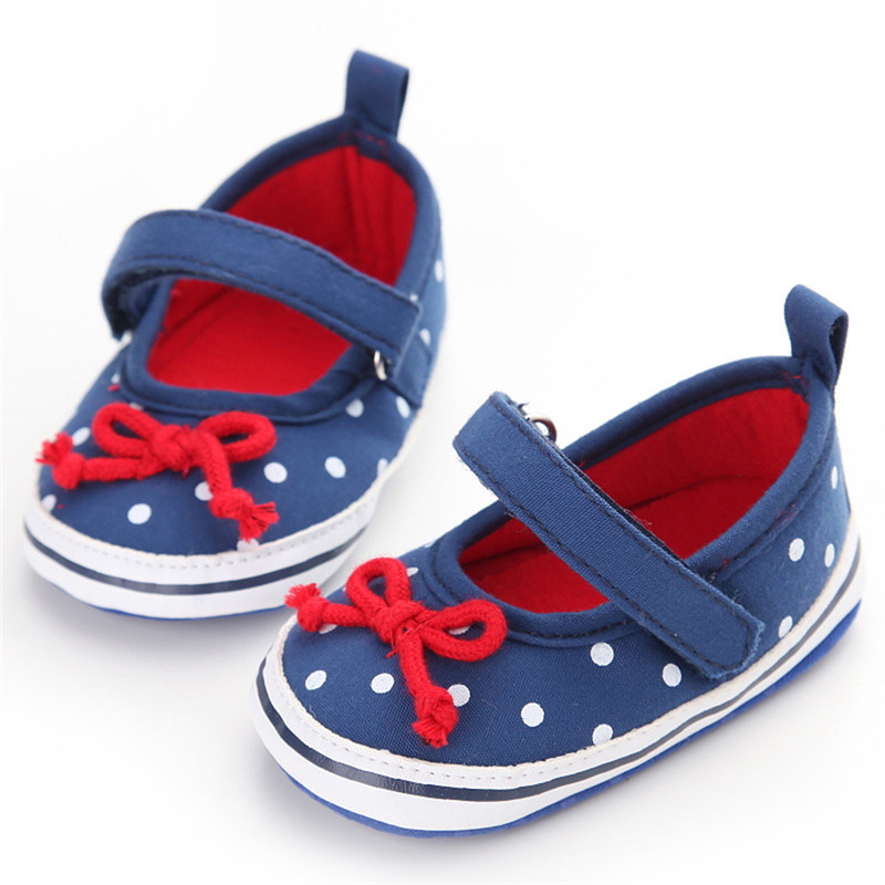 Toddler Baby Girls Bow-Knot Blue Denim Princess Soft Sole Crib Shoes Prewalker Newborn Shoes with Wave Point Pattern