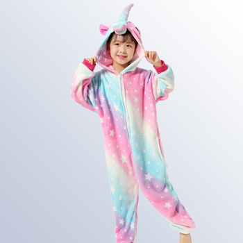 Sky Pegasus Unicorn Pyjamas Flannel Kids Boys Girls Pajamas Onesies Children Cartoon Cosplay Sleepwear for 4 6 8 10 12 Years Old pajamas