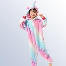 Купить с кэшбэком Children's Pajamas Kigurumi Onesie Kids Unicorn Pajamas for Boys Girls Pijamas Winter Animal Teens Sleepwear for 4 8 10 12 Years