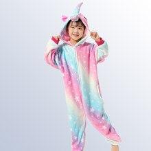 aba81a7d686c8 Детская Пижама Kigurumi Onesie Дети Единорог пижамы для белье для детей  зима животных подростковые пижамы для 4, 8 От 10 до 12 л.