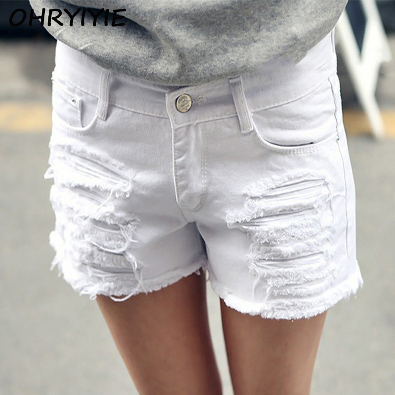 Aliexpress.com : Buy OHRYIYIE Plus Size 6XL White Denim Shorts ...
