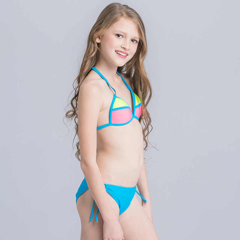 63a4c14d3e86 ... Sexy Stitching Swimsuit Child Girl Beach Wear For Teenagers Girls  Bikinis Set With Adjustable Halter On ...
