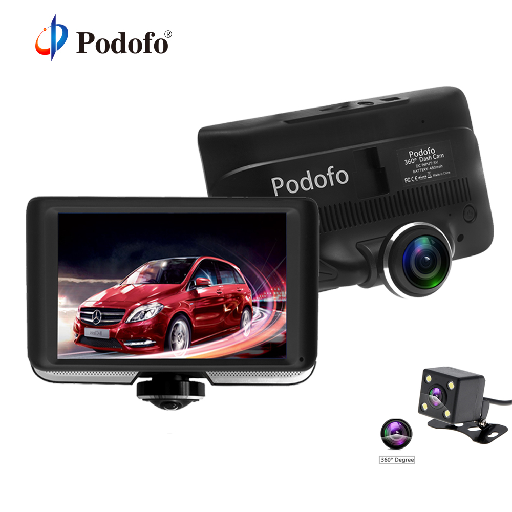 Podofo 360 Degree Panoramic Car DVR Camera Dual Lens with Rear View Registrar Cameras Full HD Video Recorder Car Camcorder gizcam 30m underwater waterproof 360 degree panoramic video camera camcorder ultra hd with waterproof accessories