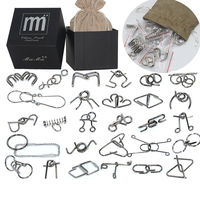 28PCS Set Metal Wire Puzzle IQ Disentanglement Magic Brain Teaser Puzzles Game Toy For Adults Children