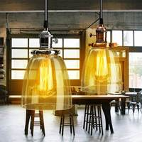 E27 Retro Vintage Industrial Lamp Cover 2M Cord Coffee Bar Glass Cover Ceiling Pendant Light Chandelier