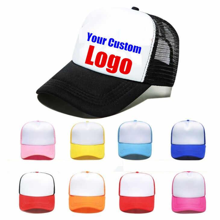 64e796eda906f 50pcs lot Wholesale DIY Custom Logo Trucker Hat Mesh Caps Multi color  Polyester Baseball Caps