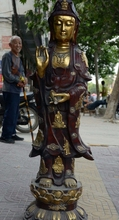 18 «Тибетский Буддизм Бронзовый Свинка Резные 18 Архат Лотос Кван юн Гуань Инь Статуя