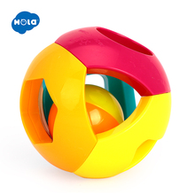 HOLA 939-5 Baby Toys Bell Ball Geometric Shape Plastic Rolling and Rattle Learning Educational 0-12 Months