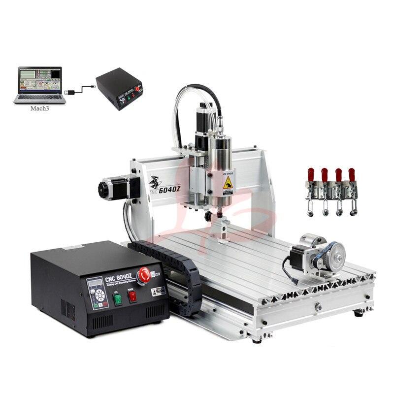 YOO CNC machine à graver 4 axe bois CNC routeur 800 W broche 6040 ER11 collet avec limitée