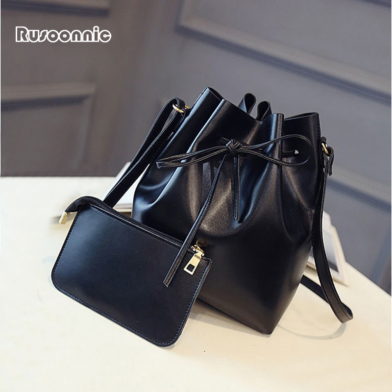 Rusoonnic Women Bag Bucket Composite Shoulder Messenger Bags Feminina Bolsas Handbag Mochila Leather Handbags sac a main mujer 2018 women messenger bags minnie mickey bag leather handbags clutch bag bolsa feminina mochila bolsas female sac a main