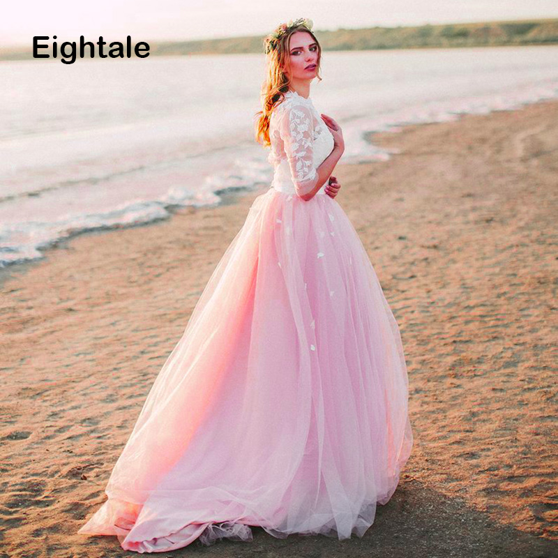 Eightale Pink Boho Wedding Dress 2019 O-Neck A-Line Wedding Gowns Tulle Appliques Lace Backless Long Sleeves Beach Bridal Dress