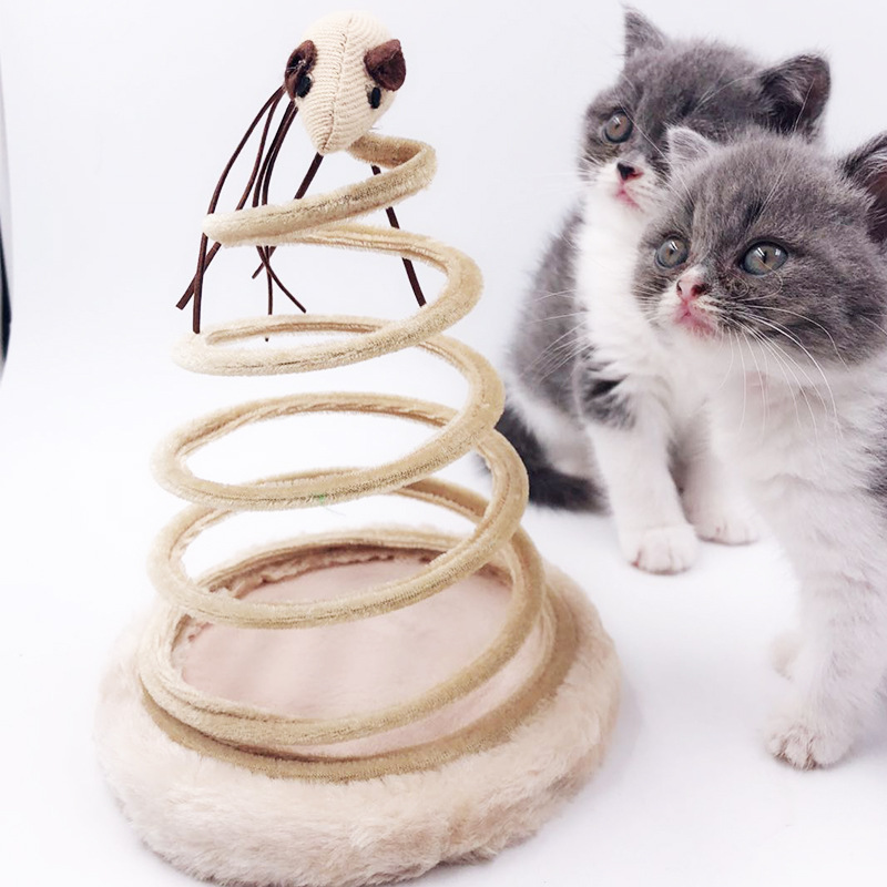 Cat Toy Mobile Interactive Plush Spring Plate Pet Mouse Play Chew Toys Pets Cats Goods Plate Cat Mice Supplies Top Pet Products in Cat Toys from Home Garden