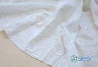 High Quality New 100 Cotton Cloth 1meter Lot White Optional Exquisite 3D Sunflower Embroidery Cotton Fabrics