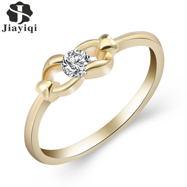 Jiayiqi 2017 Fashion Ring For Valentine Gift Design Gold Color Ring