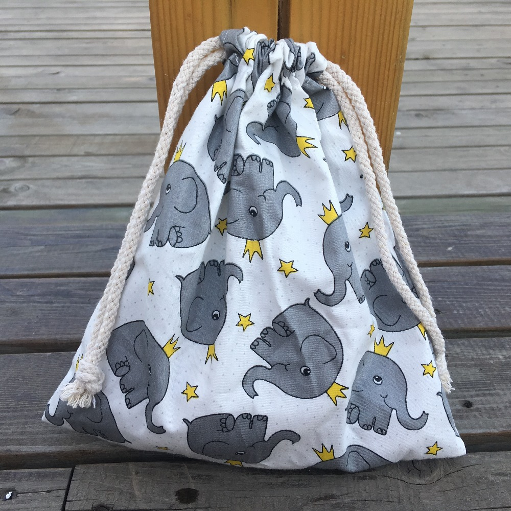1pc Cotton Twill Drawstring Organizer Bag Party Gift Bag Print Elephant White Base YL408d YILE