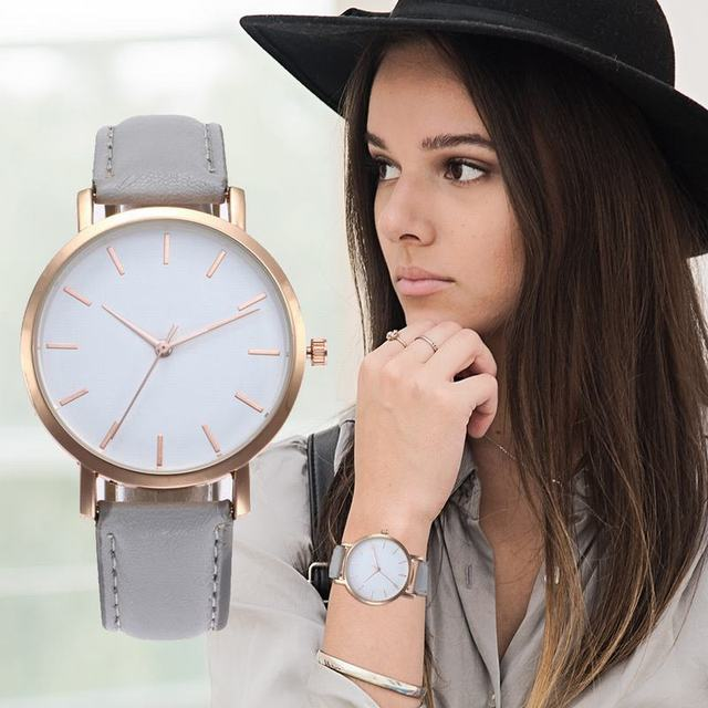 MJARTORIA Leather Strap Watch Bracelet Ladies Watches Women Dress Clock Calendar