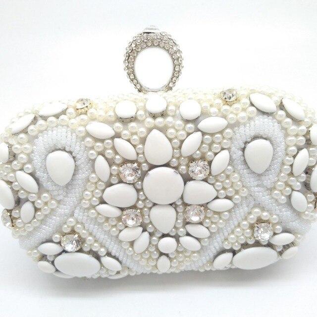 85cd6392f8bf Lady Bridal Wedding White Metal Crystal Clutches Beaded Pearl Evening Bag  Rhinestone Beading Clutch Bags Women Bolsa Knucklebox