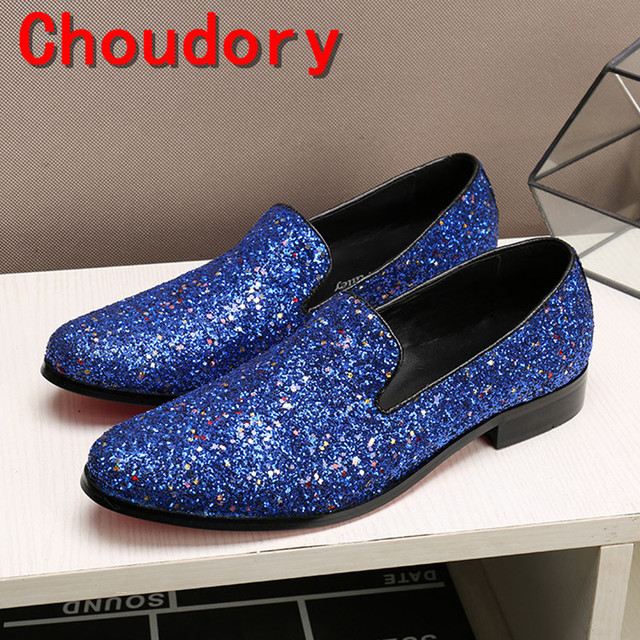 Choudory mens italian leather shoes blue spiked loafers men glitter wedding  men dress shoes 2017 classic slipon velvet slippers 137b96beabb9