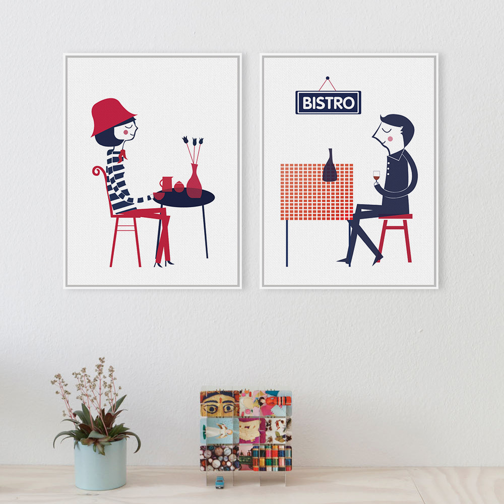Modern paintings French Boy Girl Love A4 Romantic Art Print Poster Abstract <font><b>Hipster</b></font> Wall Picture Canvas Painting Cafe <font><b>Home</b></font> <font><b>Decor</b></font>