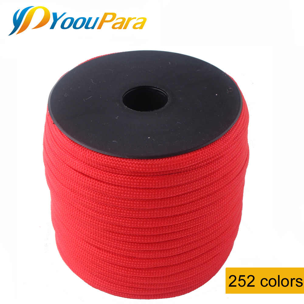 YoouPara 252 Warna Tali 7 Berdiri Parachute Cord Outdoor Survival Paracord 550 Paracord Tali Angin 100FT/Kumparan