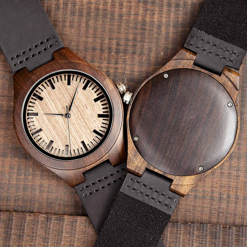 2019 Top Brand BOBO BIRD Luxury Men Watch Relogio Masculino Black Wood Watches Quartz Wristwatch  Soft Leather Band C-F08