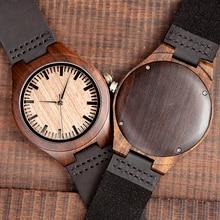 BOBO BIRD reloj de lujo para hombre, de madera negra, de cuarzo, banda de cuero suave, OEM C F08