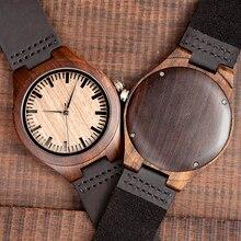 Marca superior bobo pássaro relógio de luxo masculino masculino relógios de madeira preta quartzo relógio de pulso banda couro macio oem C F08