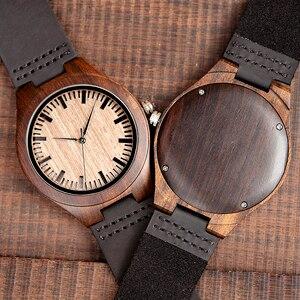 Image 1 - Marca superior bobo pássaro relógio de luxo masculino masculino relógios de madeira preta quartzo relógio de pulso banda couro macio oem C F08