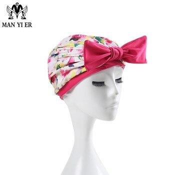 MYE New  Women Floral Pink Swimming Cap Pink Printed Swimming cap Bowknot Long Hair for ladies Bathing caps white one piece swim