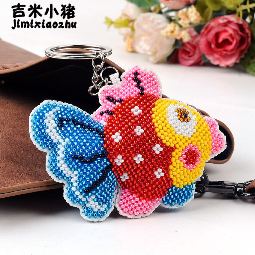 US $3 0 40% OFF|DIY Beaded Children Adult Toys embroidered keychain Hand  made cross embroidered multi color bubble fish goldfish new key buckle-in