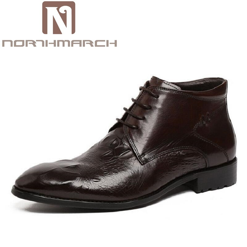 NORTHMARCH Genuine Crocodile Leather Round Toe Luxury Casual Ankle Boots Lace up Black/Brown Men Shoes For Wedding Business 2017 new men ankle boots anti slip lace up round toe autumn for men motorcycle boots genuine leather shoes yellow free shipping