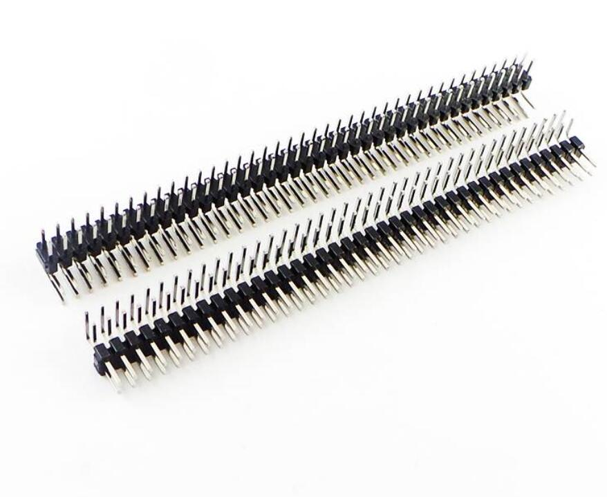 10pcs/lot 2.54mm Connector Pin Header Male Double Row Right Angle 2*40 Pin