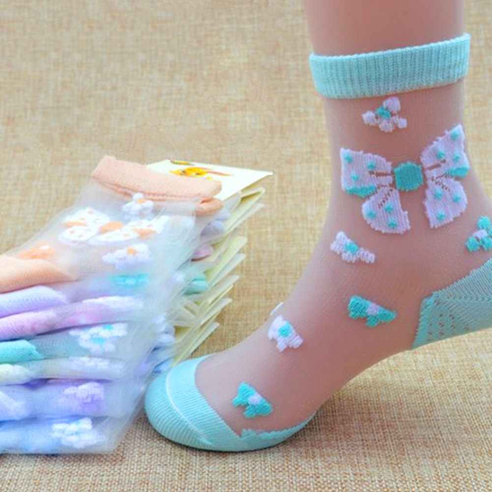 4/6Pairs/Lot Summer Girls Lovely Butterfly Crystal Silk Socks Children Kids Baby Girl Mesh Floral Elastic Lace Flowers Socks