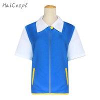 Ash Ketchum Costumes Pocketmon trainerCosplay Jacket Japanese Anime Ash Shirt Gloves Hat Ball Blue White Cartoon Pikachu Adult