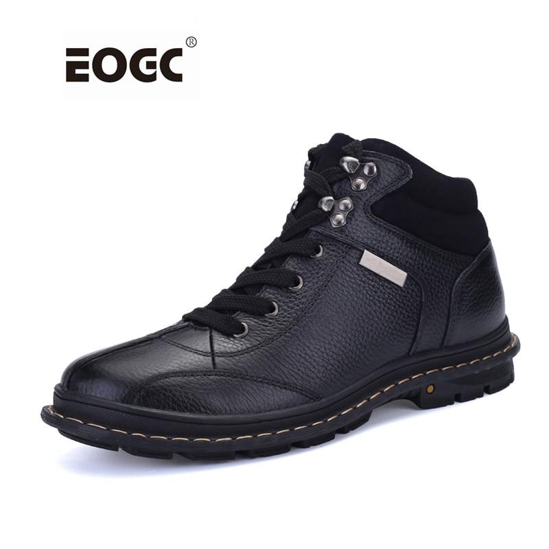 Puna zrnata koža Muškarci Čizme Plus Veličina Modni stil Zimske čizme Ručno izrađene cipele Muškarci Top kvalitete Vanjski čizme za snijeg Dropshipping