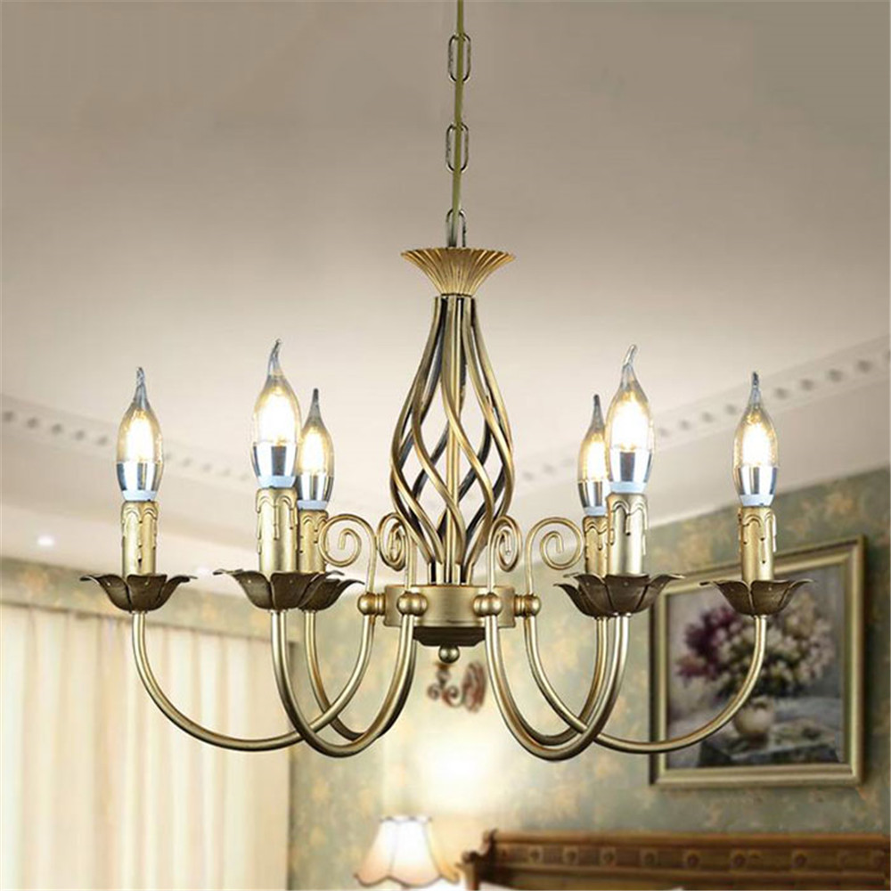 Vintage Wrought Iron Chandelier E14 Candle hanging Light Lamp Bronze Metal LED home Lighting Fixture modern iron lustre promotio wrought iron chandelier e14 3pcs led candle light white vintage rustic pendant lamp for home study room living room