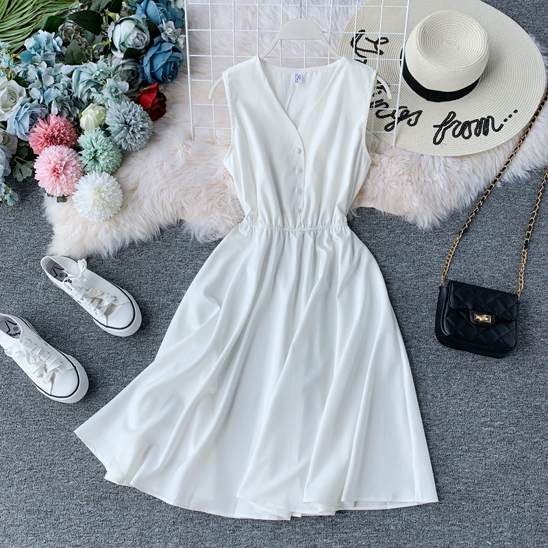 Women Summer Vintage Dress Sleeveless V-neck Sllim A-line Robe 2019 New Fashion Solid Casual Tank Dresses Korean Ladies Clothes 2