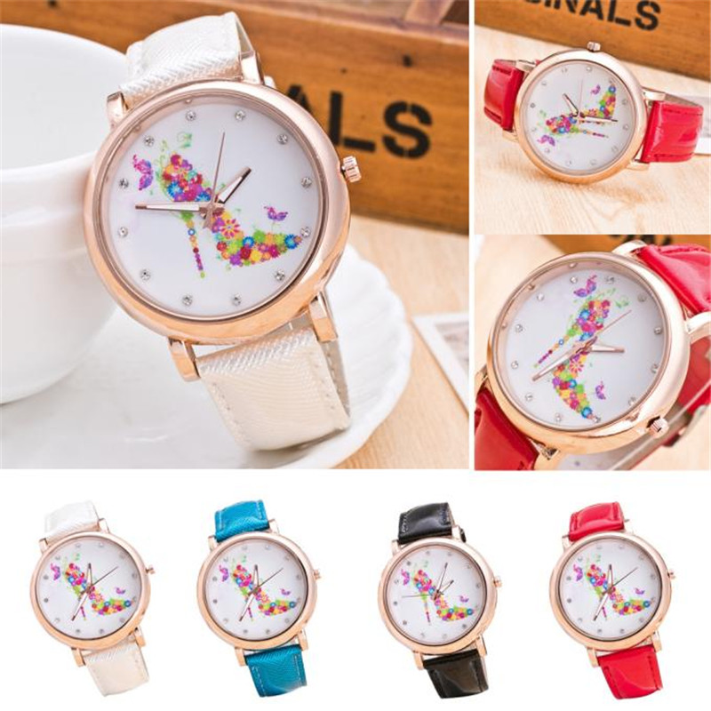 New Fashion High heels feminine design Round Dial Leather Band Quartz Analog Wrist Watch bayan kol saati wholesale Free shipping analog watch